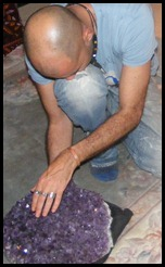 Gary Reich touching the moon amathyst crystal