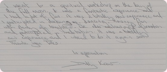 hand written testimonials from Full Moon in Leo January 2013