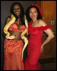 Solaris Ade, Sheba the albino Burmese Python Snake, Toks