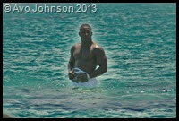 Ayo Johnson in the sea
