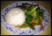 rice and greens
