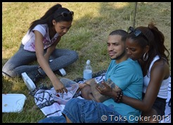 Tariye and his girlfriend with his sister
