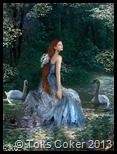water lady and 2 swans