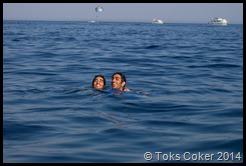 Akshai and brother swimming