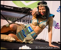 Toks Dance of Isis Osiris Horus on stage at the Om Yoga show 2013