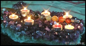 7 lit candles