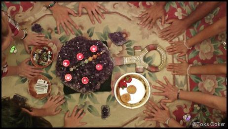 healing hands greet altar
