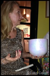 Gina and her Mother of Pearl Crystal Bowl