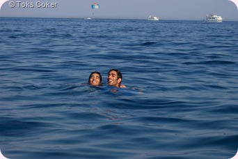 Akshai and brother swimming
