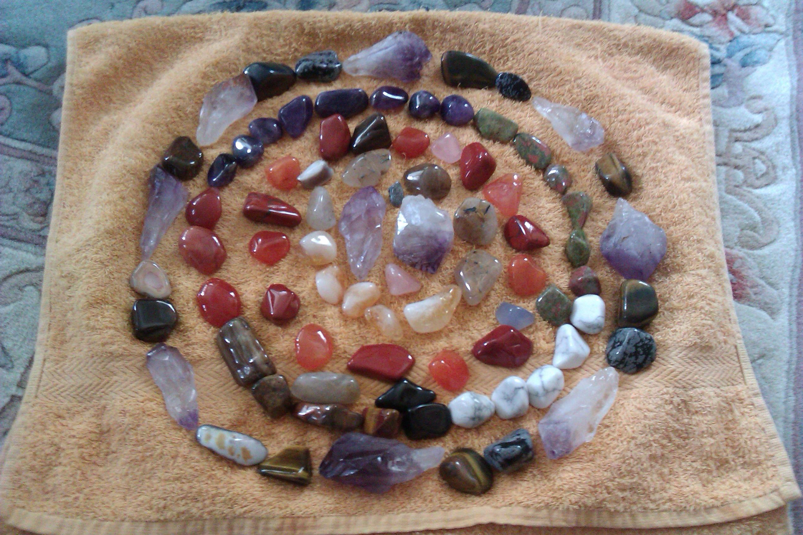 A circle of crystals