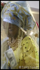 dancing bride spayed with money